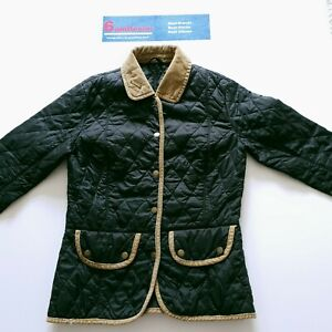 Barbour-Black-Quilted-Jacket-Coat-Genuine-Tan-Ladies-Size-8UK-Chest-34-35in