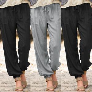 ZANZEA-UK-Women-Casual-Loose-Cargo-Long-Trousers-Elastic-Waist-Solid-Harem-Pants
