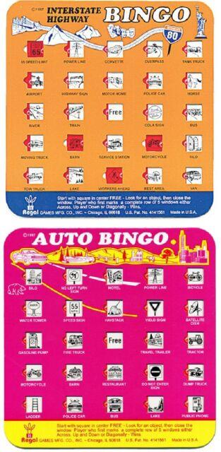 NEW Auto Bingo Game - 2 Cards (1 Orange & 1 Pink) Travel, Road Trip by Regal