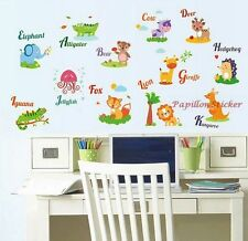 Glow in the Dark Jungle Woodland Animals Letter Nursery Baby Kids Wall Sticker