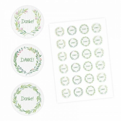 rund 4 cm Ø 24 Danke Aufkleber Dankeaufkleber Sticker Floral Aquarell grün
