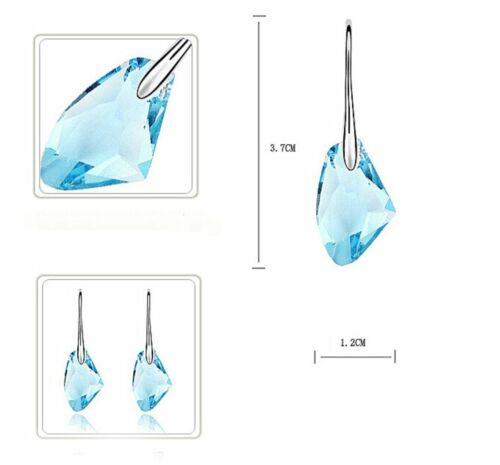 925 Sterling Silver Cubic Zirconia Crystal Water Drop Earrings Pink Gift Wedding