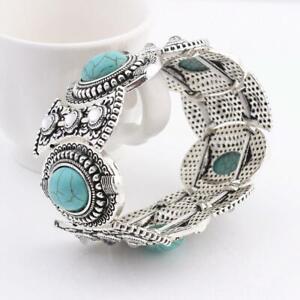 Turquoise-vintage-style-Silver-Bangle-Bohemian-Gypsy-Cuff-Bracelet-Women-Tibetan
