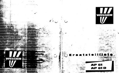 Welger AP61 Baler Parts Manual PDF file SPARE PARTS LIST CATALOGUE
