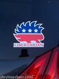 Libertarian-Porcupine-vinyl-bumper-sticker-decal-liberty-Paul-Amash-Johnson-USA