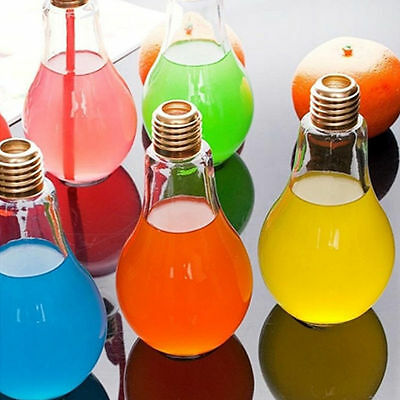 Fashion Plastic Light Bulb Shaped Bottle Drink Cup Water Bottle Party Deco DI O