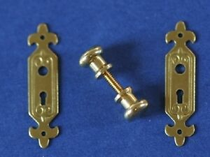 Classic Brass Door Knob & Plate, Doll House Miniature 1.12th Scale DIY Knobs