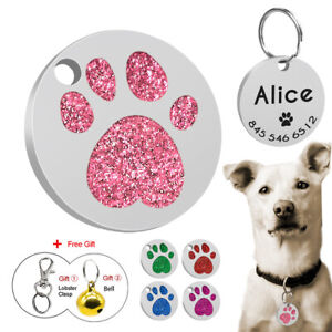 Paw-Glitter-Personalized-Rhinestone-Cat-Puppy-ID-Name-Tags-Custom-Free-Engraved