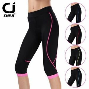 916f07f4091 CHEJI Women s 3 4 Cycling Pants Ladies Padded Road Bike Bicycle ...
