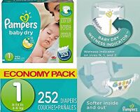 Newborn Pampers Baby Diapers 252 Count Size 1 Economy Pack Snug Dry Cheap 104