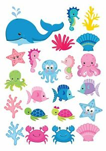 22 Icing Cupcake Cake Toppers Decorations Edible Under The Sea