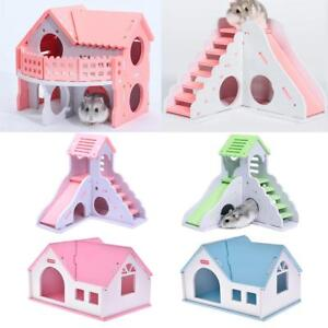 Pet-Hamster-Cage-Wooden-Toy-Slide-Stair-Small-Animal-Rat-Guinea-Pig-House-Castle