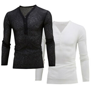 Men-039-s-Deep-V-Neck-Summer-Long-Sleeve-T-shirt-Basic-Tee-Shirt-Casual-Slim-Fit-Top