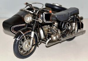 Moto Side-car En Étain Modèle Tôle Vintage Bike 29 Cm 37741