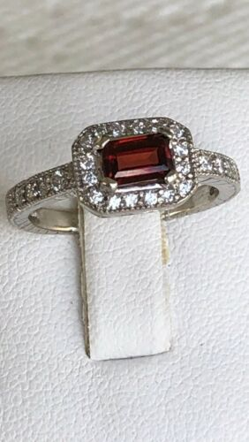GARNET RHODOLITE DIAMOND RING 14K WHITE GOLD