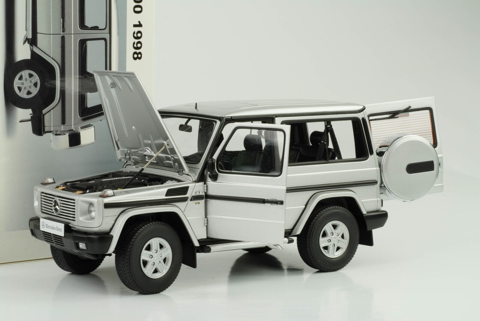 Mejor precio 1 18 mercedes-benz g500 g g g 500 G-class 1998 SWB plata Autoart 76112  ¡envío gratis!