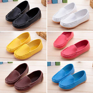 Kids-Boys-Girls-Baby-Casual-Toddler-Soft-Boat-Shoes-Slip-On-Leather-Flat-Loafers