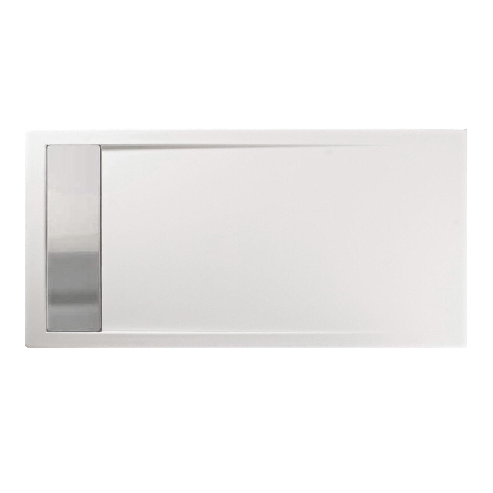 Piatto Piatto Piatto doccia 160 x 80 cm bianco acrilico rinforzato con canalina acciaio 6b95e5