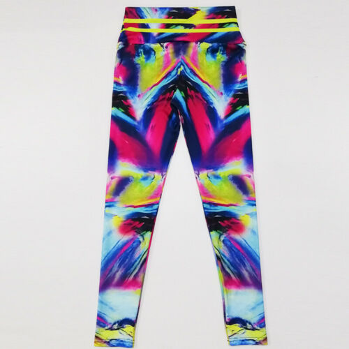 Womens Workout Gym Sports Yoga Pants Leggings Fitness Stretch Trousers Rainbow