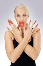 Long Red Nails Self Adhesive Fake Fingernails Costume Devil Finger Claws Womens