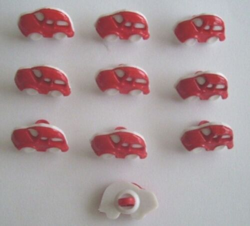Rojo Y Blanco Coche Novedad Botones X 10 pequeño