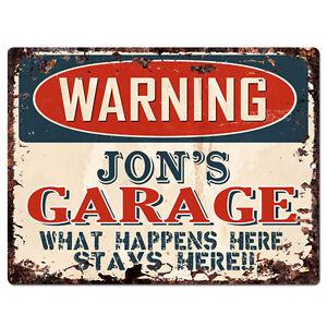 PPFG0157-WARNING-JON-039-S-GARAGE-Tin-Chic-Sign-Home-man-cave-Decor-Funny-Gift