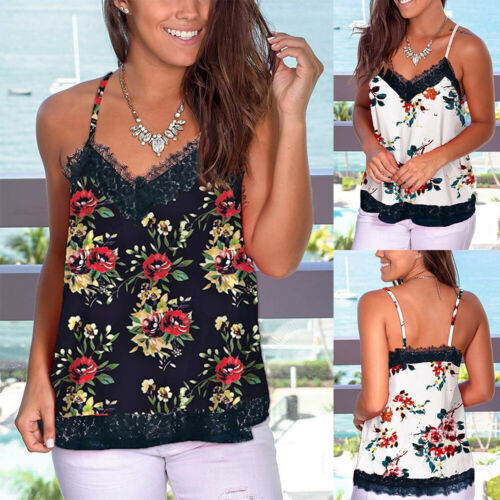Womens Sleeveless Floral Tops Camisole Ladies Vest Cami Summer Blouse Size 10-18