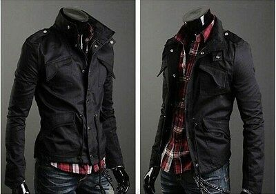 Slim Fit Mens Military Style High Collar Casual Jacket Zip Button Coat  PK40
