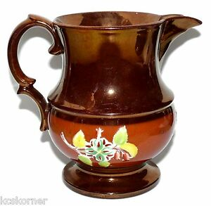 Staffordshire-Copper-Lustre-19-Century-Brown-Enamel-Embossed-Small-Pitcher