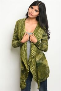 New-Boutique-Boho-Hippie-Green-Multi-Swag-Open-Front-Sweater-Coat-Cardigan-S-M