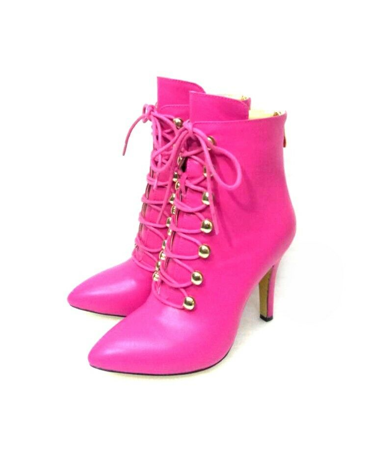 New Women's Pointy Toe Stilettos High Heels Lace up pink Red Ankle Boots shoes