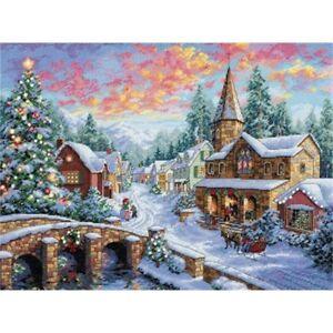 Dimensiones-contados-puntada-X-Oro-pueblo-de-vacaciones-Cruz-Kit-D08783-Navidad