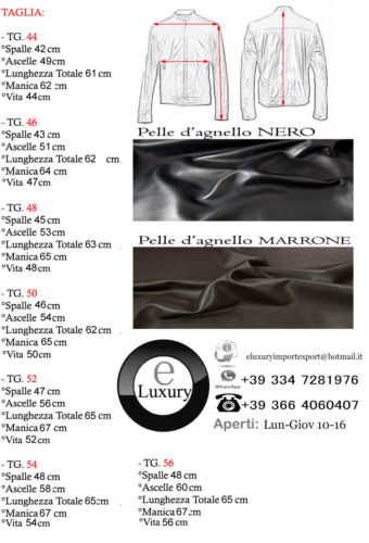 Giacca Giubbotto in Pelle Uomo Men Leather Jacket Veste Blouson Homme Cuir N10