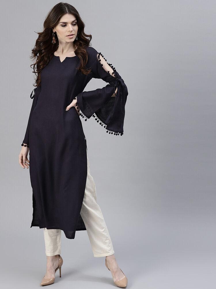 Collection Ici Purple Kurti Pakistani Femmes Solide Droite Kurta Rayon Col Rond Robe De Soirée Ventes De L'Assurance Qualité