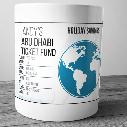 ABU DHABI PERSONALISED HOLIDAY SAVINGS MONEY BOX TRAVEL FUND