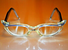 Vintage Frame France Cat Eye Glasses Swank Clear Light Yellow & Blue Celluloid
