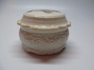 Vtg White Porcelain Pottery Detailed Design Jar / Trinket Box Painted Floral Lid