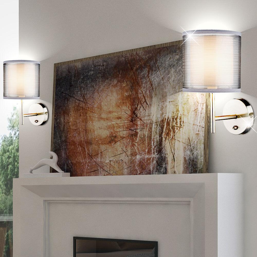 Ensemble de 2 appliques ombre tissu lecture nuit lumières de la chambre de gris