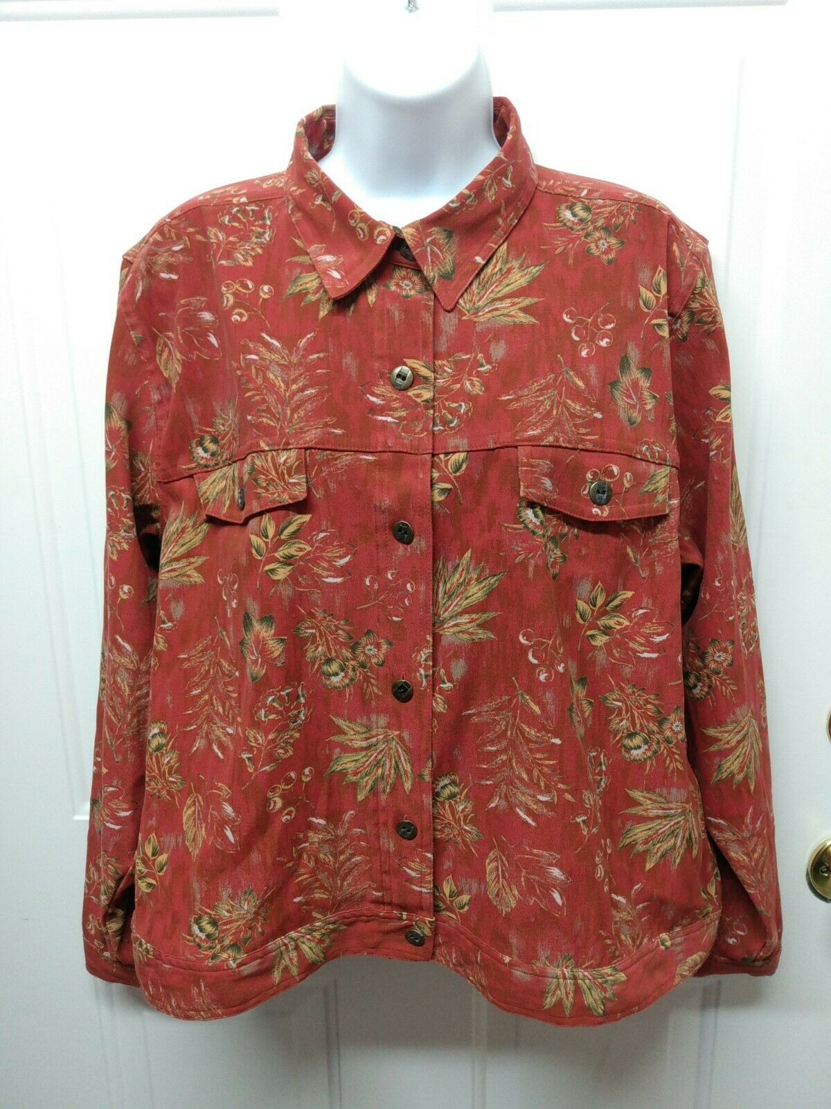 Christopher Banks size large jacket Ladies stretch red button down