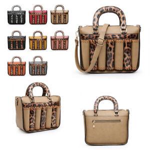 los mejores precios para toda la familia amplia selección de colores y diseños Detalles de Mujer Estampado Leopardo Bolso Animal Piel Sintética Bolso  Bandolera MIW19014