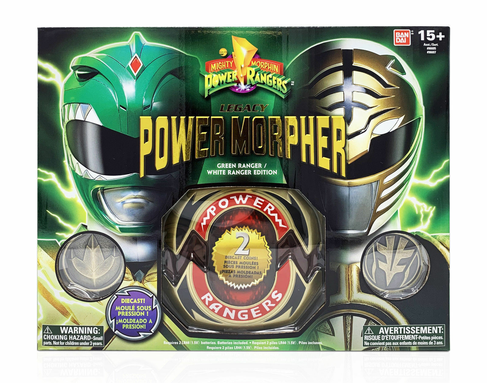 Mighty Morphin Power Rangers Diecast Legacy Grün Weiß Morpher Prop Replica Set