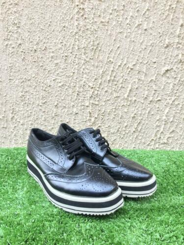 Prada Wingtip Leather Brogue Platform Oxford US 6.