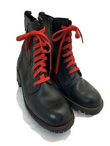 Esprit-Black-LEATHER-Combat-Boots-With-RED-Laces-Size-8-1-2-Women-s