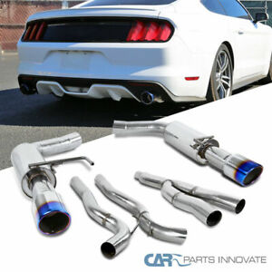 For 15-18 Ford Mustang 2.3L EcoBoost S/S Catback Exhaust Muffler Burnt Tip