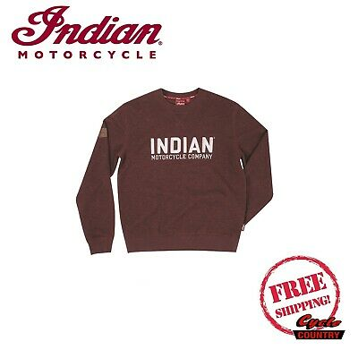 GENUINE INDIAN MOTORCYCLE BRAND BLOCK LOGO MEN/'S SWEATSHIRT PORT RED CHAINSTITCH