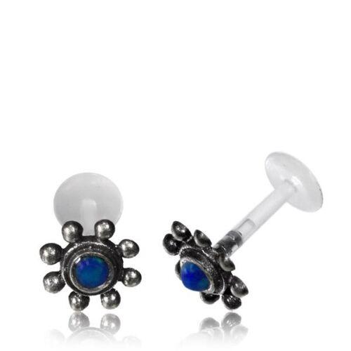 SILVER FLOWER LABRET TRAGUS W// BLUE OPAL 16G 1//4 6mm BIOPLAST EARRING LIP HELIX