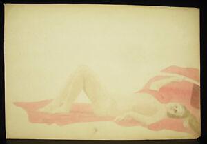 Adaptable Nu De Femme Allongée Dessin Original Aquarelle Vers 1900 Naked Nude Woman Draw Pour Assurer Des AnnéEs De Service Sans ProblèMe