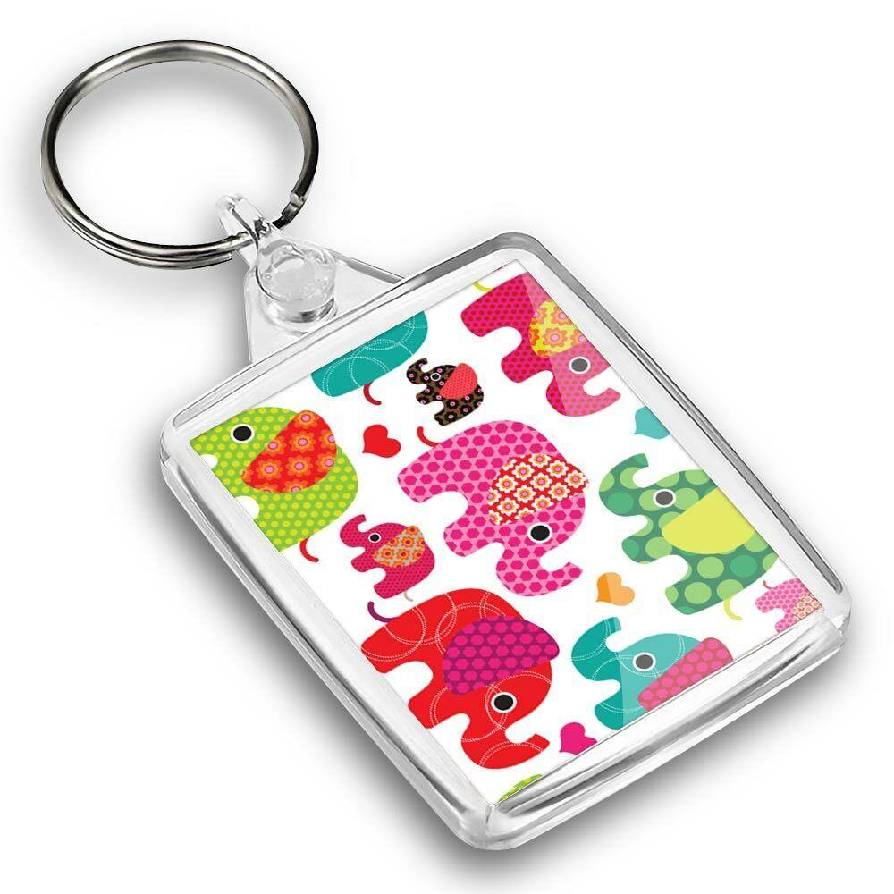 IP02 Passport Keyring - Colourful Pretty Elephant Cartoon #44678
