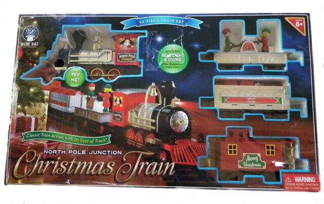 large north pole junction christmas tree train 34 piece set battary 20 feet ebay - North Pole Junction Christmas Train