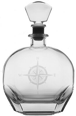 Compass Rose 23oz Glass Decanter Whiskey Storage Container Nautical Alcohol New